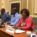 The BSFT Institute's Executive Director, Joan Muir, Ph.D. sits on the discussion panel, ready to improve mental health practices targeted at boys and men of color.